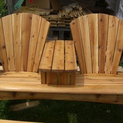 Double Rocking Adirondack Chair Plans And A Half Leather With Table In Between Chairs