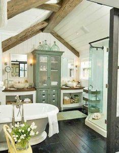 Cottage farmhouse bathroom wood beam ceiling white plank walls clawfoot also rh pinterest