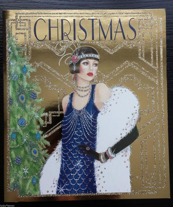 5 X Clintons Art Deco Lady Glitter Large Beautiful