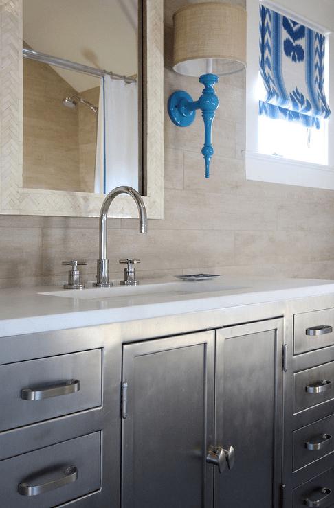 metal industrial bathroom vanity | li bathroom | pinterest