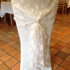 Christmas Chair Covers Ireland Ladder Back Chairs With Rush Seats Ivory Lace Hood Cover Again Can Be
