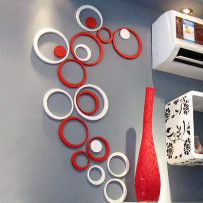 New Fashion Decor 5 Circles Ring Indoor 3D Wall Art Home