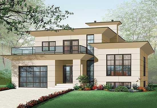 Plan 21679DR Modern House Plan With 2nd Floor Terace House