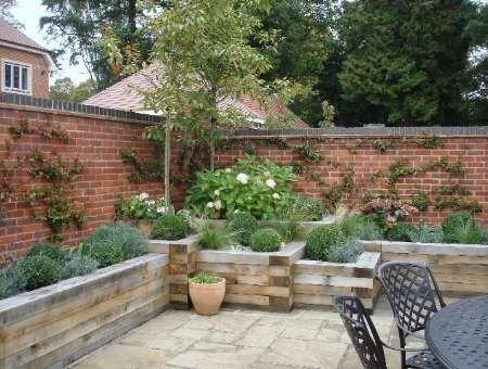 Reclaimed Brick Walls In A Small Courtyard Garden From A Garden
