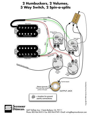 Seymour Duncan wiring diagram  2 Humbuckers, 2 Vol, 3 Way