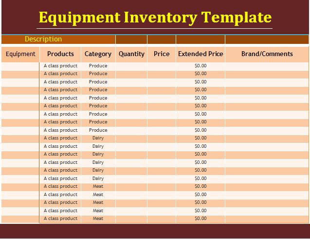 equipment inventory template free download aashe. Black Bedroom Furniture Sets. Home Design Ideas
