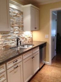 Stone Kitchen Backsplash With White Cabinets Design ...