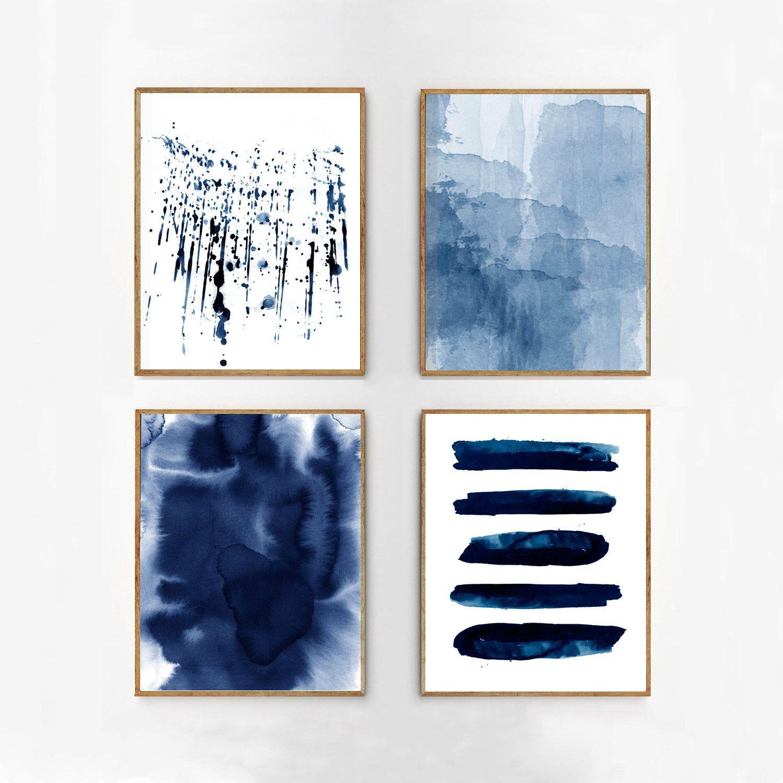 Abstract Watercolor Set Indigo Blue Wall art Large Navy