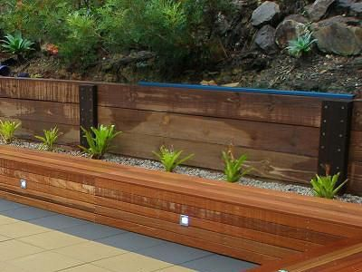 Steel And Lumber Retaining Wall Modern Design Reused Elements