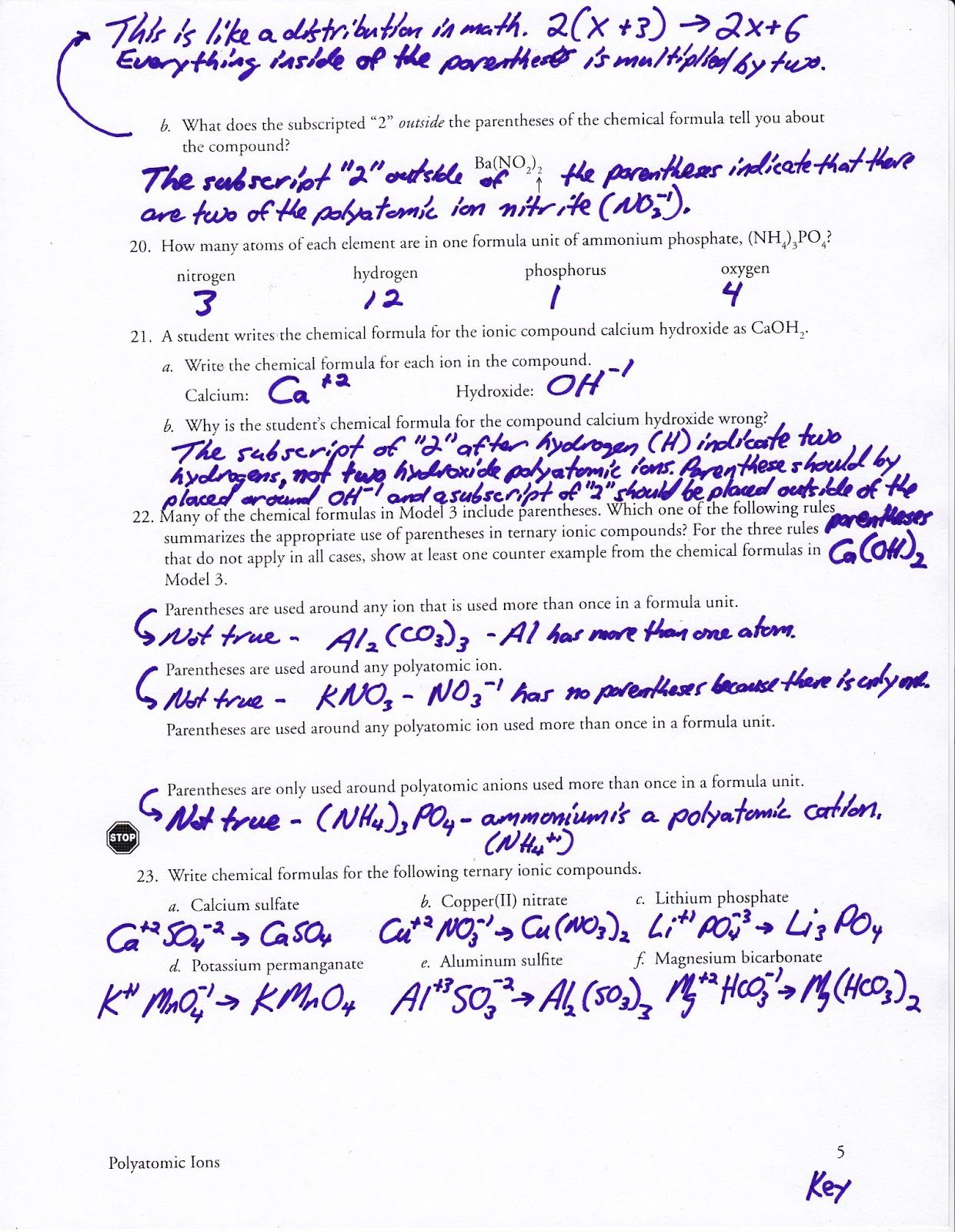 Polyatomic Ions Worksheet Answer Key