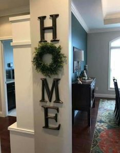 For top of stairs entryway wonderful home decor letter     use  wreath as the also walls  family room design pinterest house rh