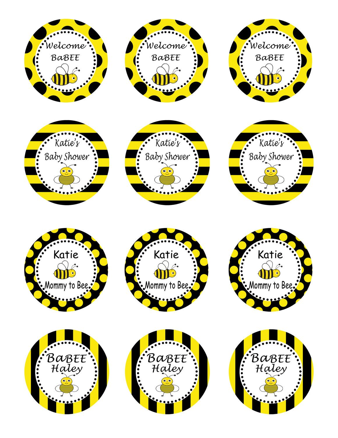 Bumble Bee Baby Shower Party Diy Printable Circles 10 00 Via Etsy