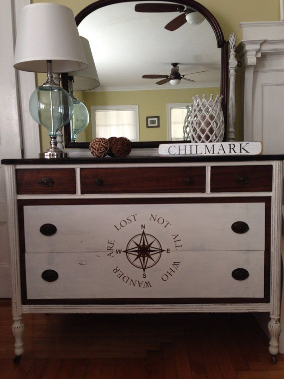 Nautical Hand Painted Antique Dresser with Mirror on Etsy