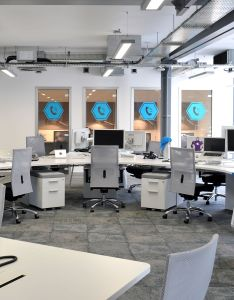 view of the open plan office at yammer in london designed by progress workplace design solutions space features milliken   comfortable concrete and also area http millikencarpet en us pages rh pinterest