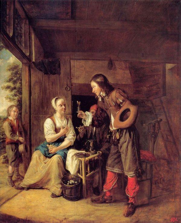 "Painting Of Day Pieter De Hooch 1629-1684 "" Man"