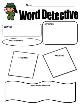 This is a simple graphic organizer for vocabulary words