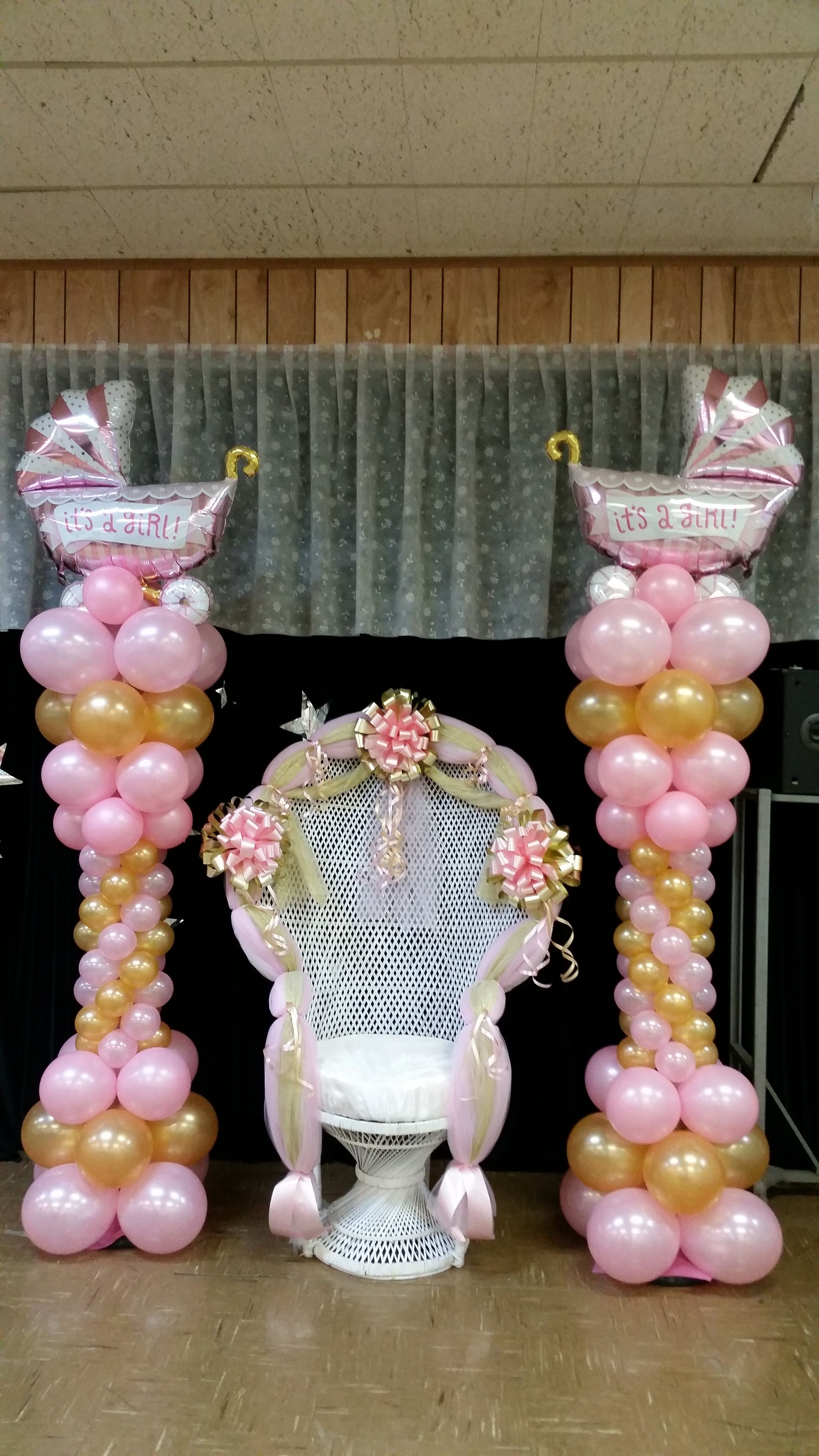 decorating chair for baby shower 2017 gmc acadia with captains chairs and balloon columns