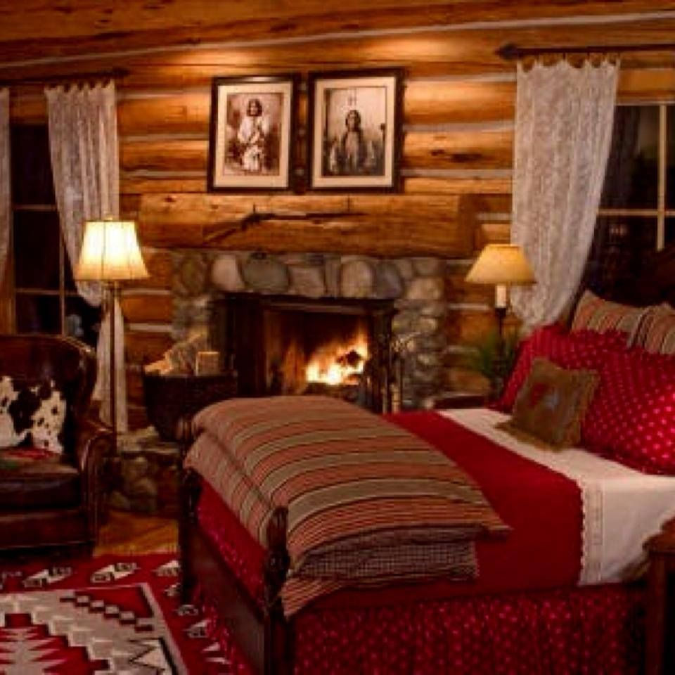 cozy bedroom  log homes   LOG HOMES   Pinterest