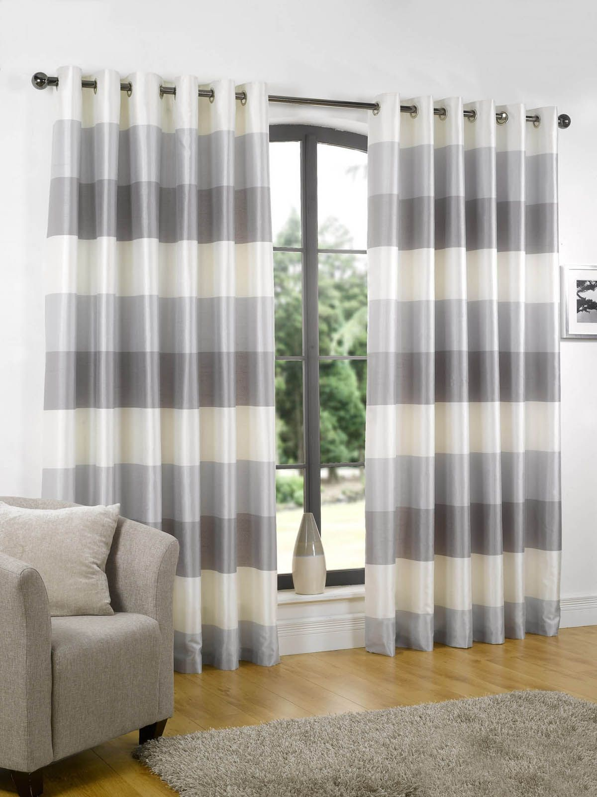 Horizontal stripe curtains - Rio Ready Made Eyelet Lined Curtains Sandy S Living Room