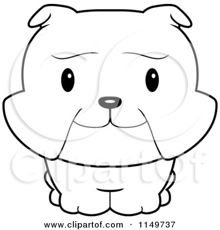 Cartoon Clipart Of A Black And White Baby Bulldog Smiling
