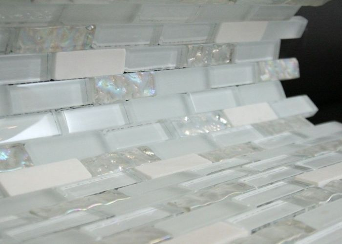 brick pattern glass tile color white  also
