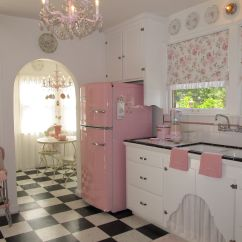 Baby Pink Kitchen Appliances Cabinet With Wheels Retro And Breakfast Nook Romantic Homes