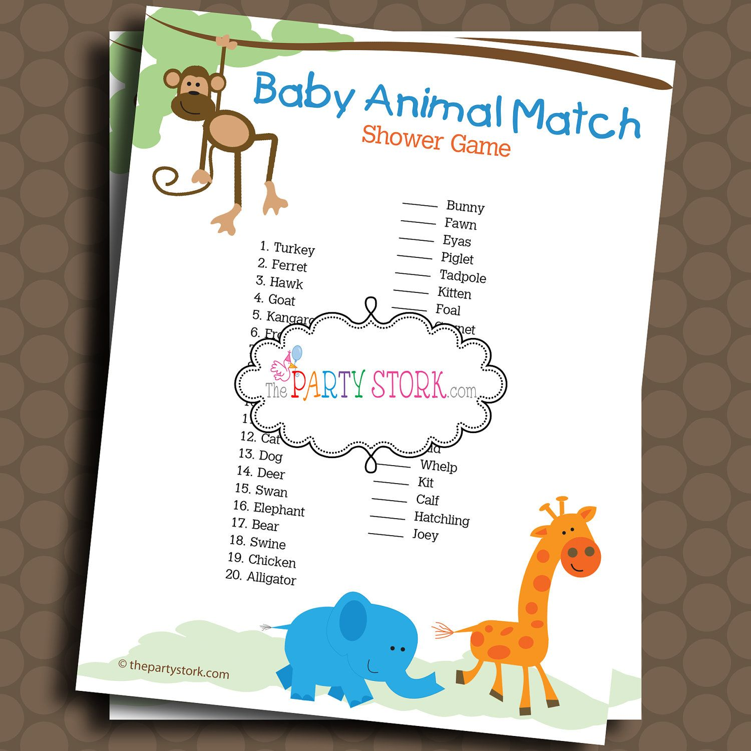 Baby Animal Match Shower Game Safari Theme Printable Baby Shower Games By The Party Stork You