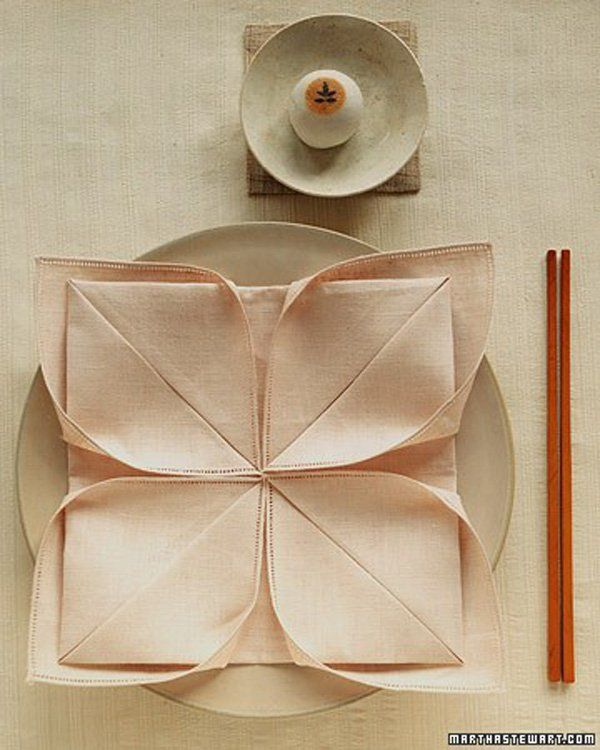 Martha Stewart Wedding Napkin Folds