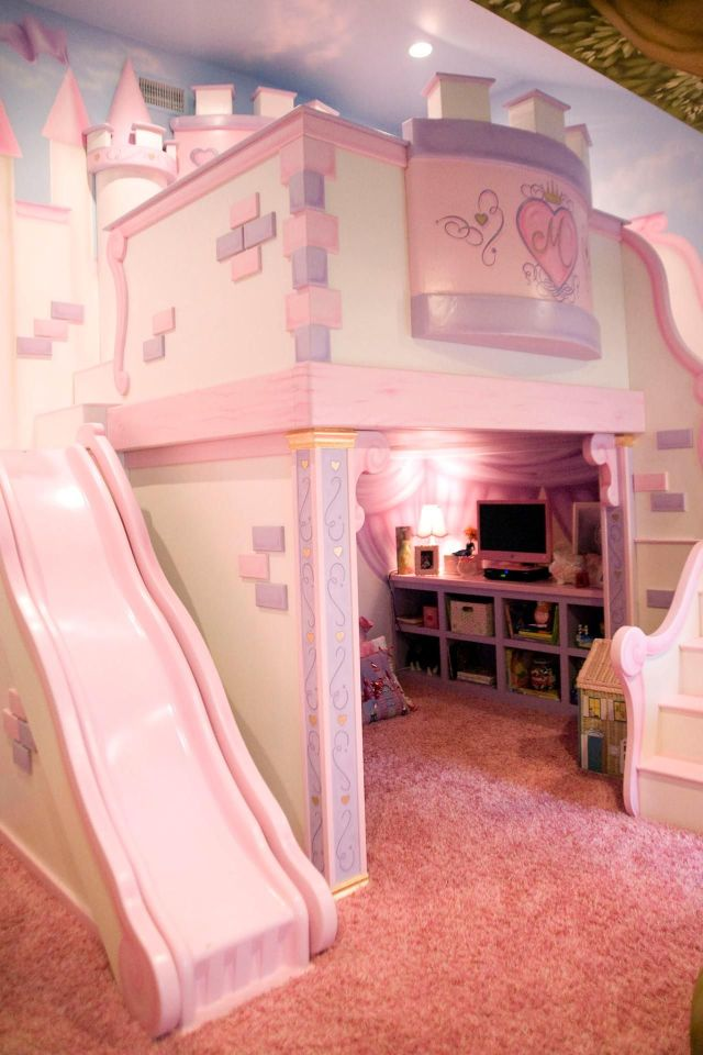 This playful pink bedroom is any little princess s dream The