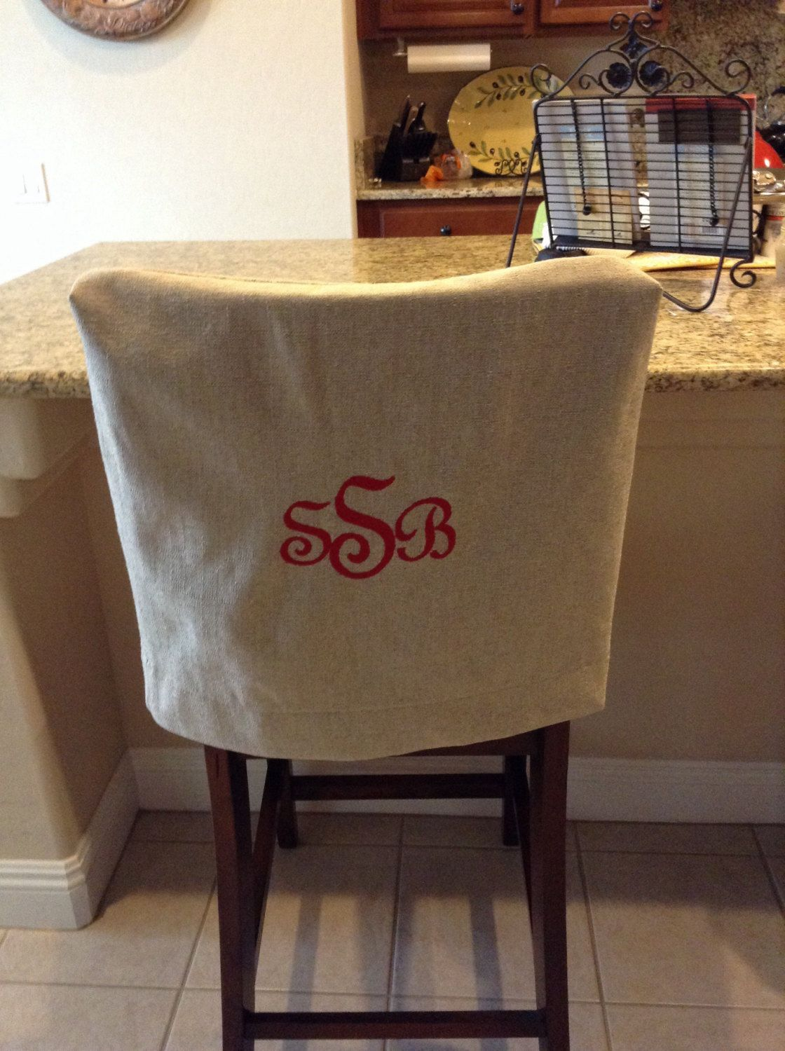 Monogrammed Chair Back Cover Natural Linen washable