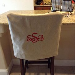 How To Make Kitchen Chair Back Covers Fisher Price 4 In 1 High Monogrammed Cover Natural Linen Washable