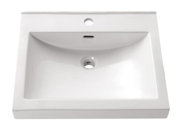 Avanity white drop in rectangular bathroom sink with overflow also