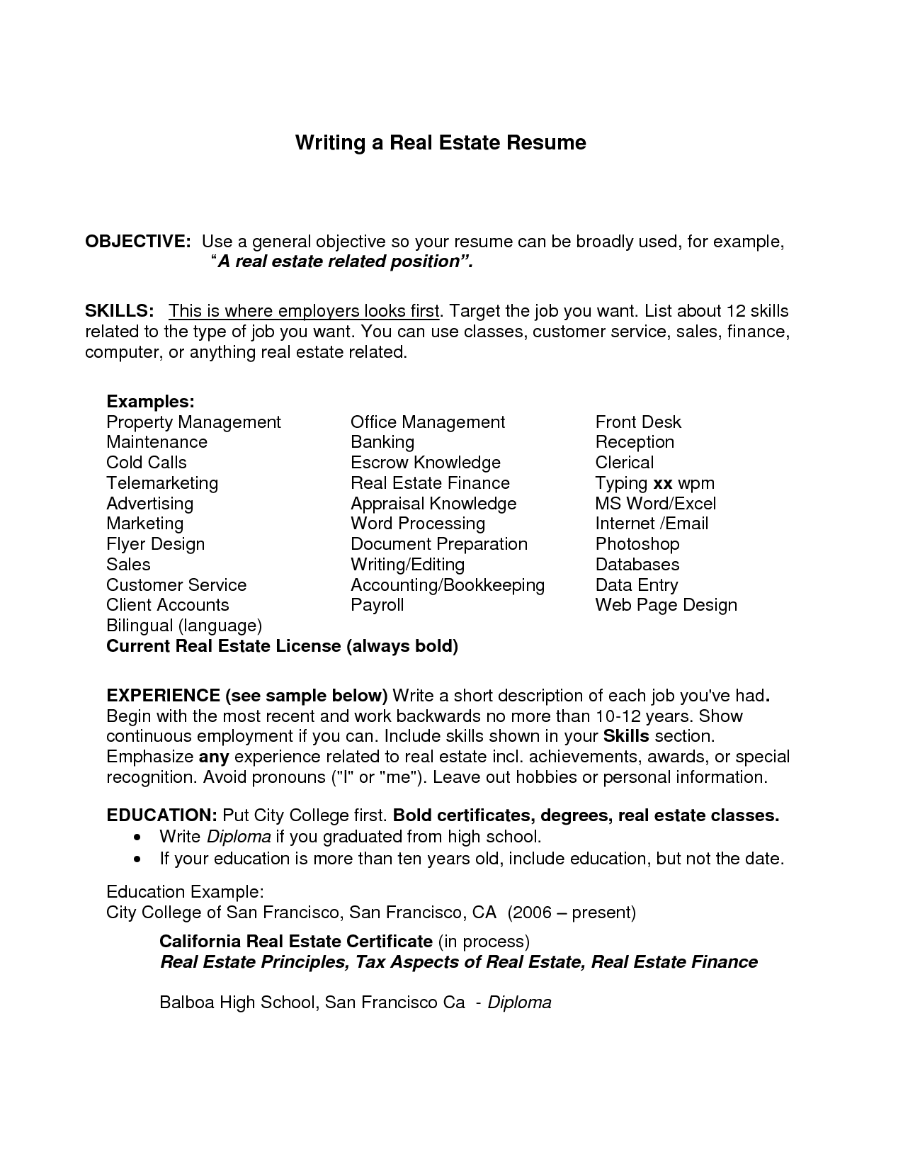 General Resume Objective Examples Job Resume Objective Examples  General Job Resume