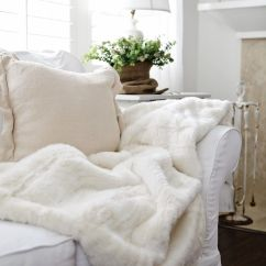 White Fluffy Sofa Cushions Havertys Slipcovered Sofas All Winter Room With Comfy Throw Alabaster Lamp