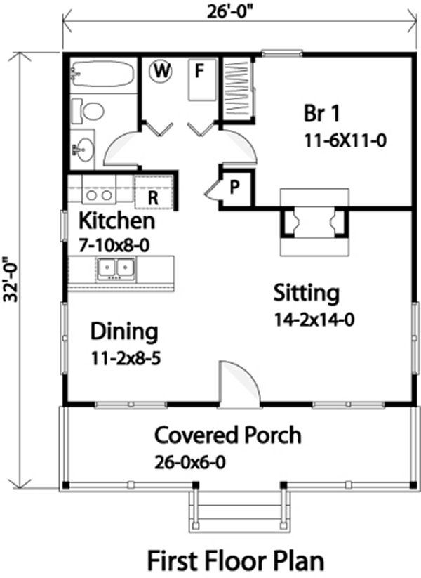Popular Cabin This popular country-style cabin house plan