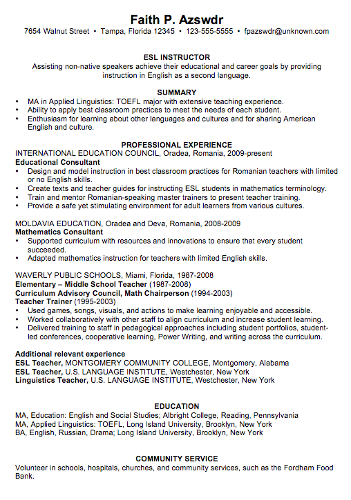 example of teach resumes