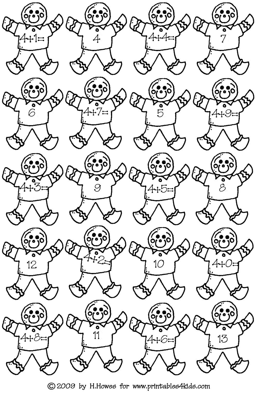 Gingerbread Math Addition Facts 4s : Printables for Kids
