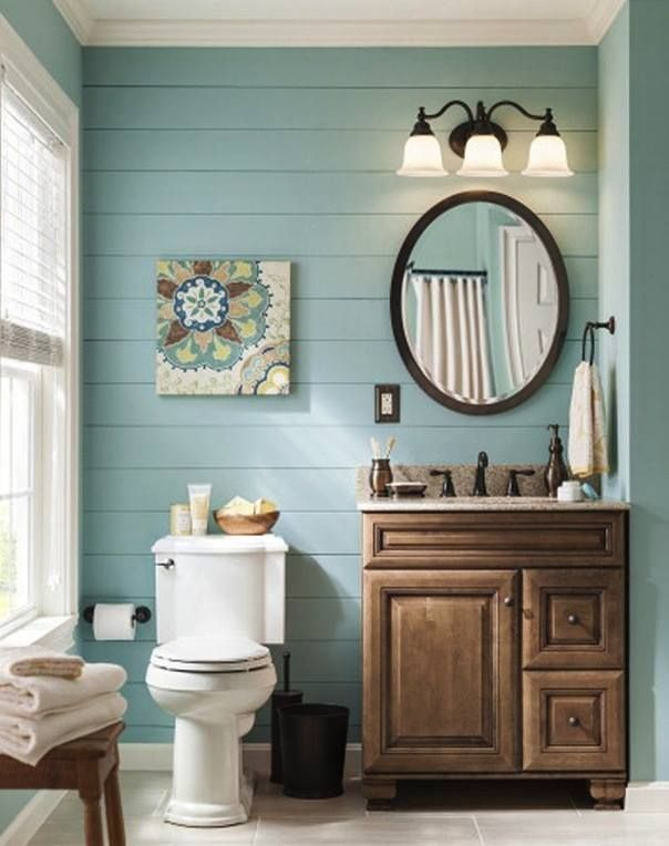 Love the blue painted shiplap and rustic vanity in this farmhouse style bathroom also rh pinterest