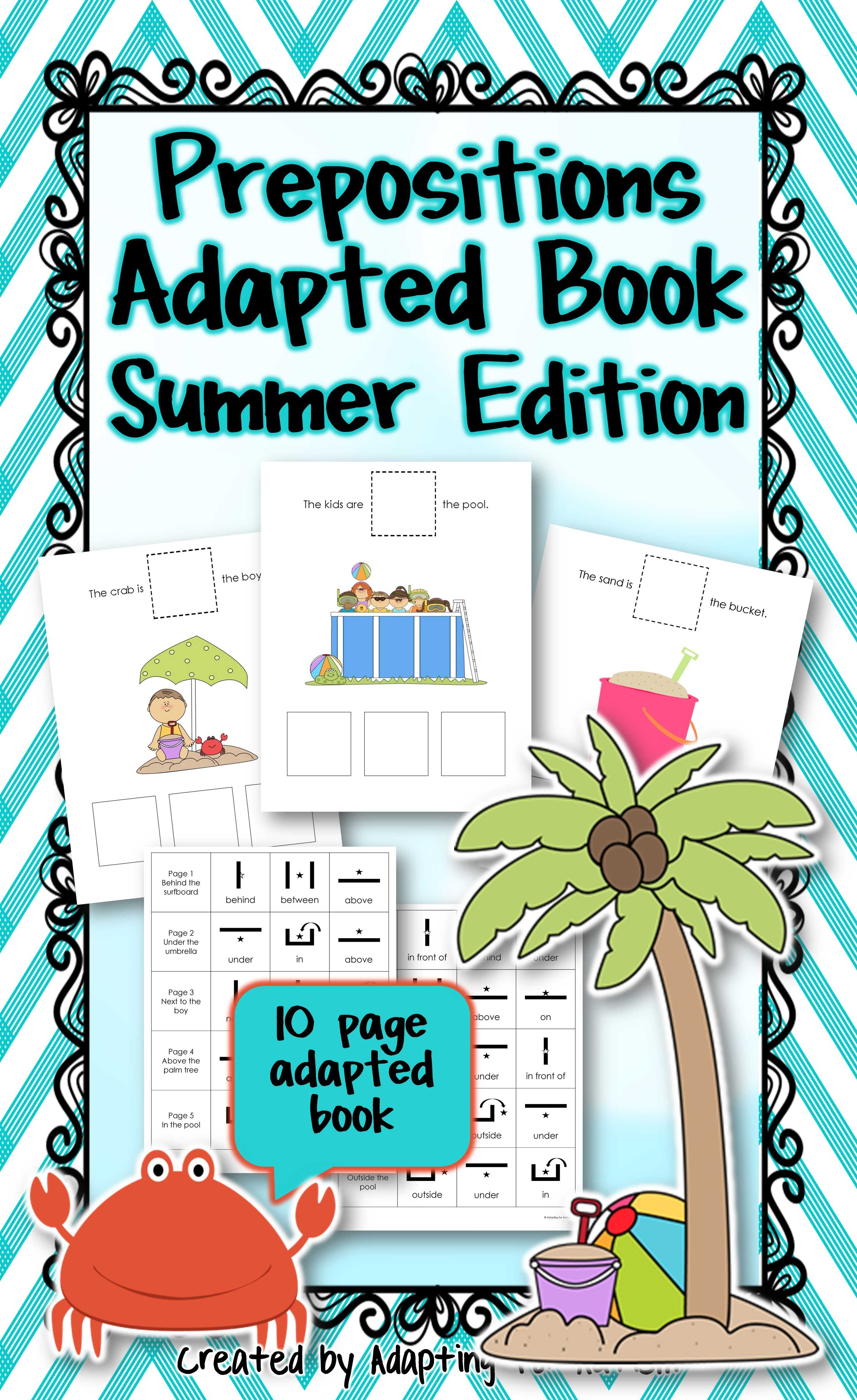 Summer Adapted Book Of Prepositions Autism Amp Special Ed