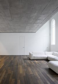 wood floor, white wall, concrete ceiling | Interior ...