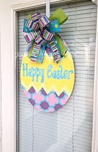 New! Easter Egg Wooden Door Hanger with Bow Happy Easter ...