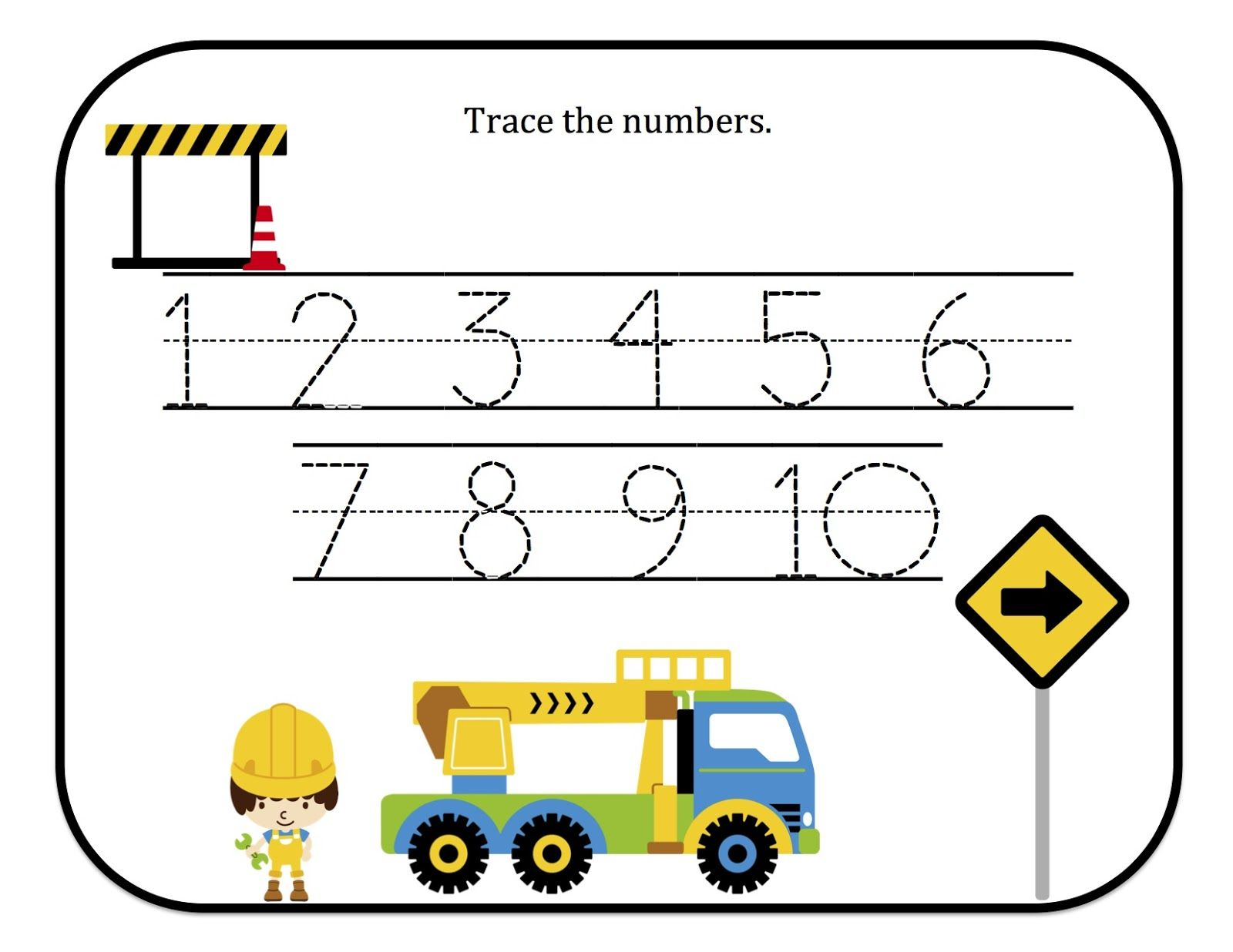 Preschool Printables Construction Number Tracing