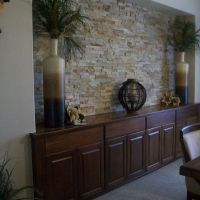 Dining Room Buffet... love the stone wall accent | Dining ...