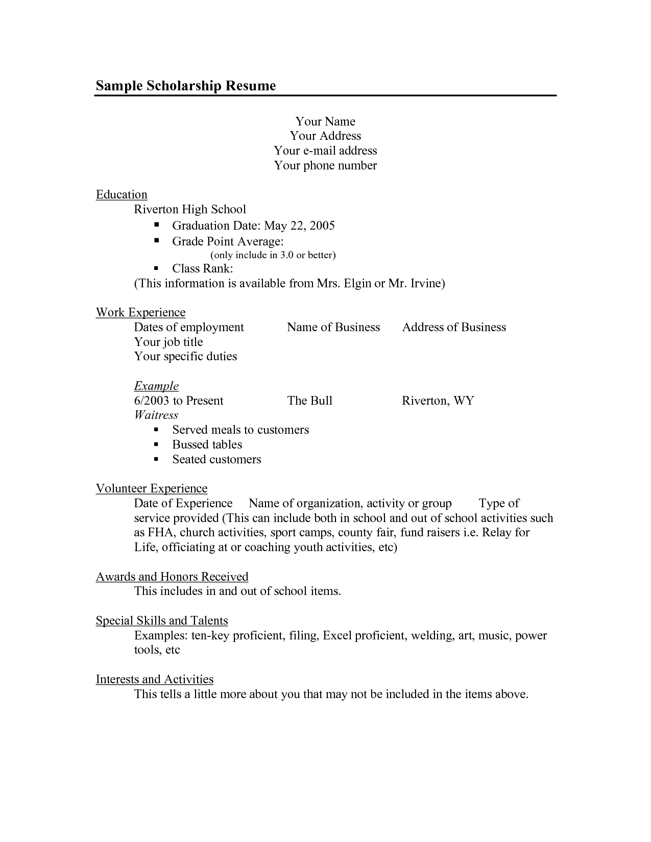 resume Scholarship Resume scholarship resume objective examples of resumes template fsgcrcom mvxhldbr kims senior pics