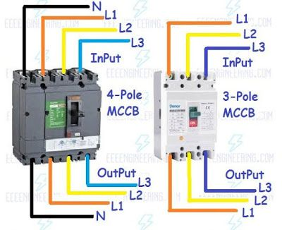 How To Wire MCCB Circuit Breakers – 3 Pole And 4 Pole Electrical