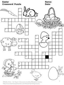 Easter No Prep Crossword Puzzle Vocabulary Worksheet ESL
