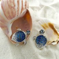 Turtle Earrings in Blue Sapphires | Turtle earrings, Black ...