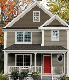 Home Exterior Paint Combo Love The Grey And Red With White Trim