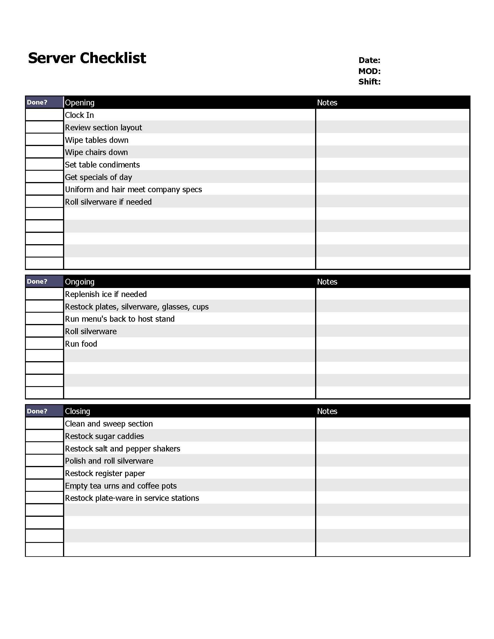 Restaurant Server Checklist Form
