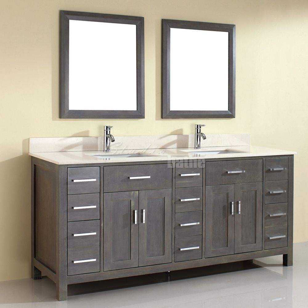 Double Sink Bathroom Vanity Kalize 75 French Gray Finish